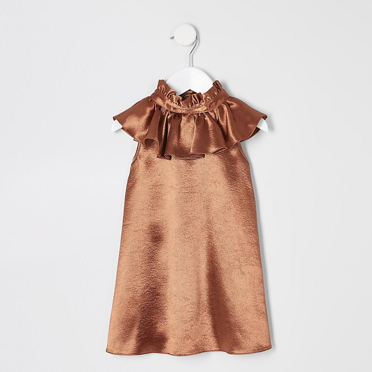 Mini girls rust satin trapeze dress