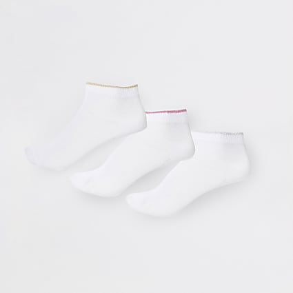 Girls white RI socks 5 pack