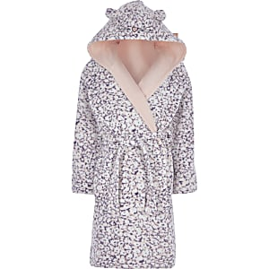 Robe de chambre violetteà impriméanimal pour fille