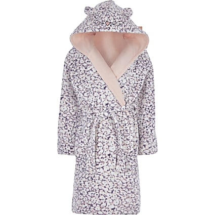 Girls purple animal print dressing gown