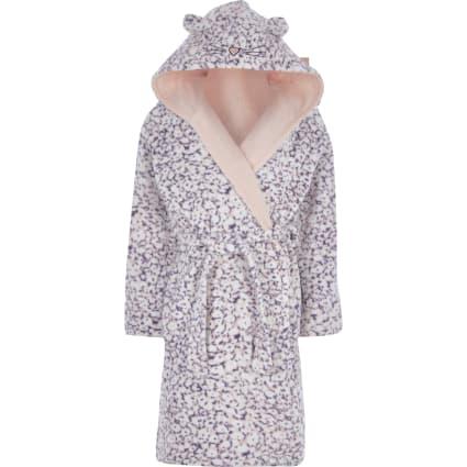Girls purple animal print dressing gown