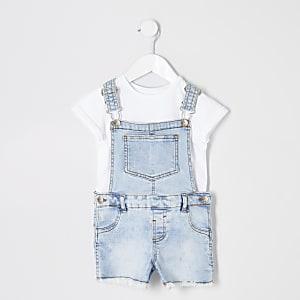 Mini girls light blue denim dungarees outfit