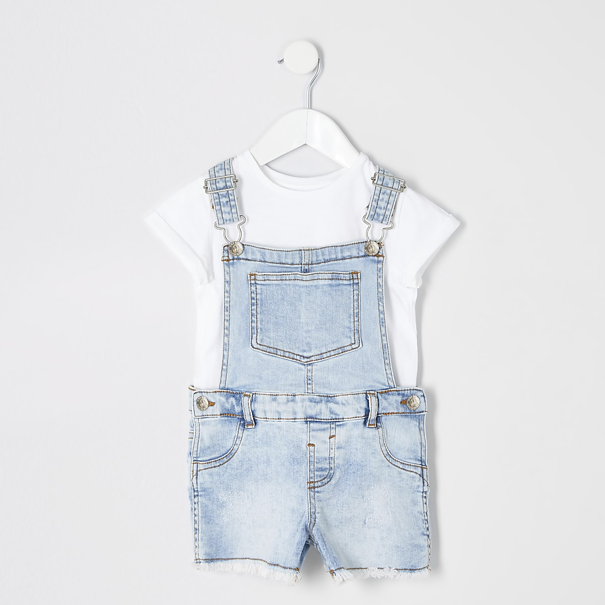 Mini girls light blue denim dungarees outfit