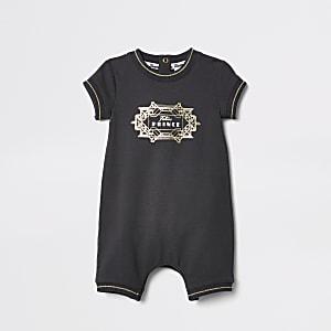 Zwarte twinning romper met 'Little prince'-print voor baby's