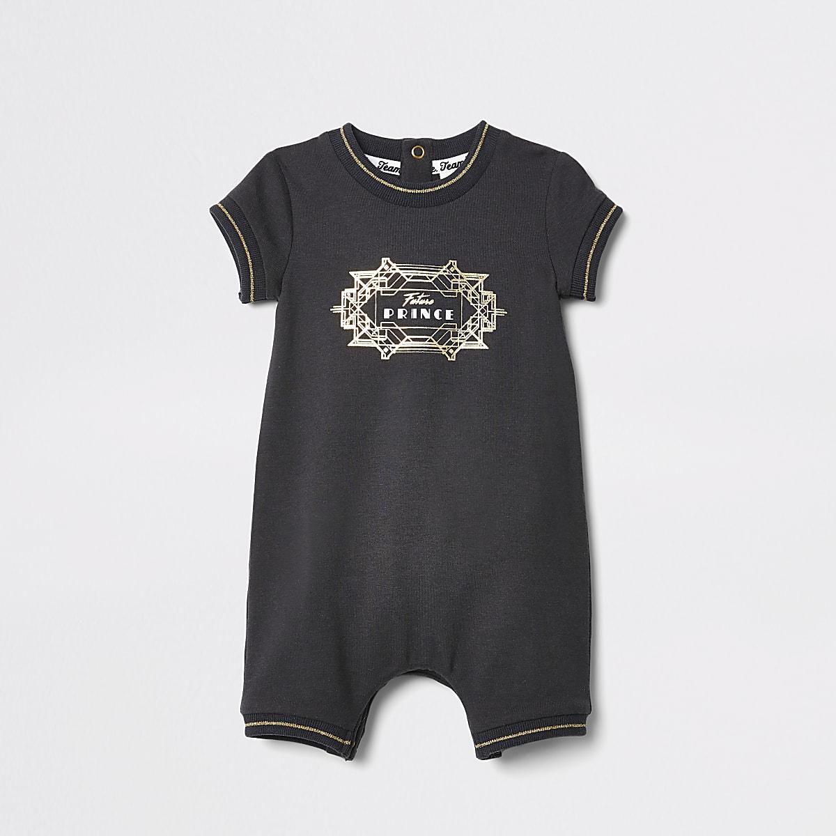 Baby black 'Little prince' twinning romper