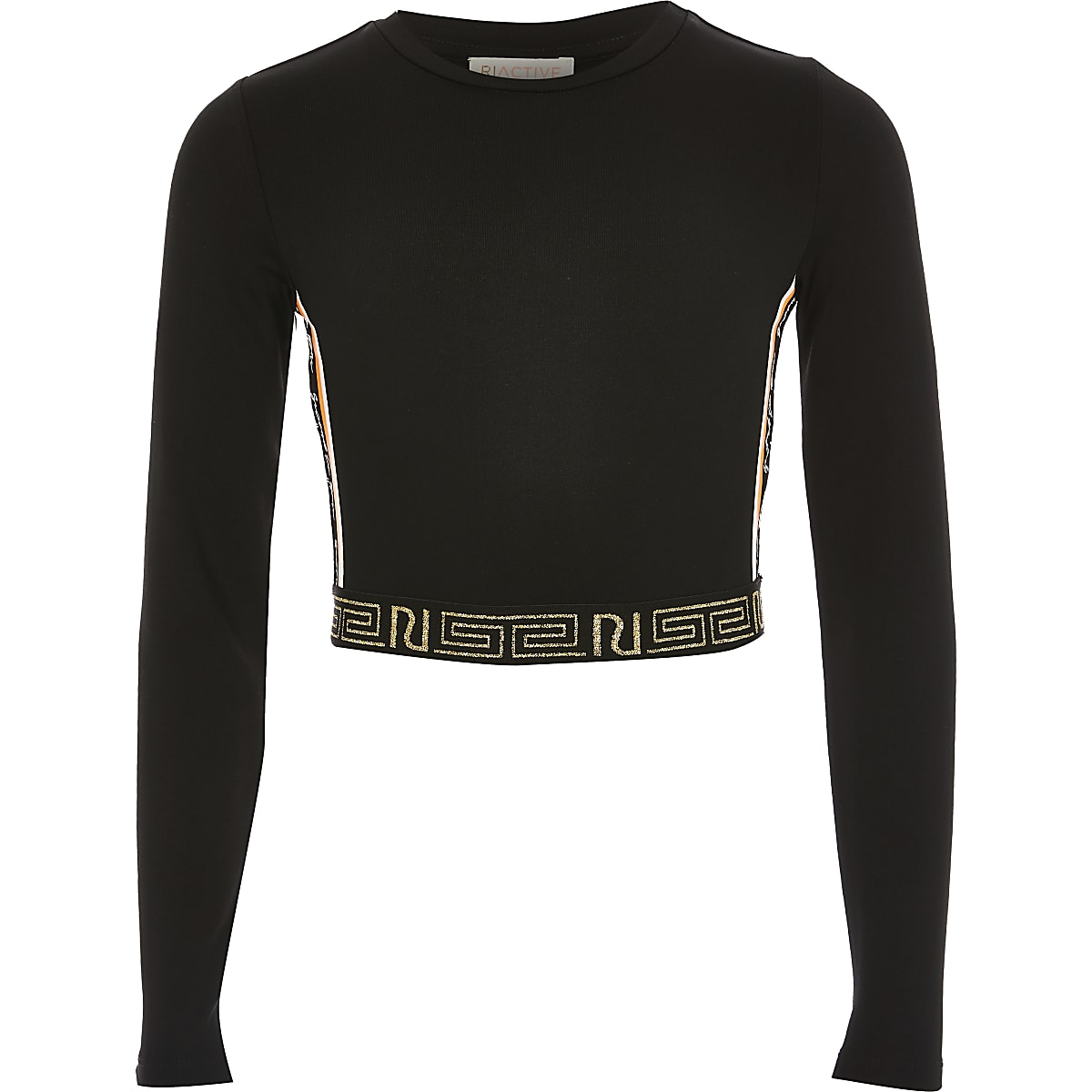 Girls RI Active black long sleeve crop top