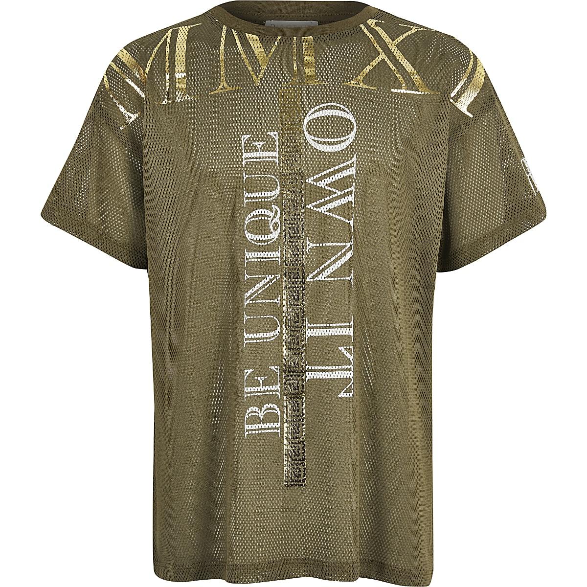 Kaki mesh T-shirt voor meisjes