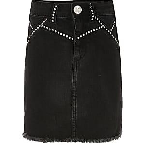 Schwarzer Jeansrock mit Nietenverzierung für Mädchen