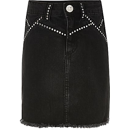 Girls black stud embellished denim skirt