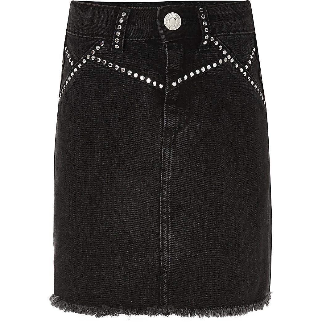 Girls black stud embellished denim skirt
