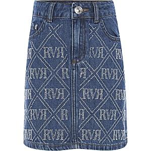 Blauwe denim rok met RI-siersteentjes voor meisjes