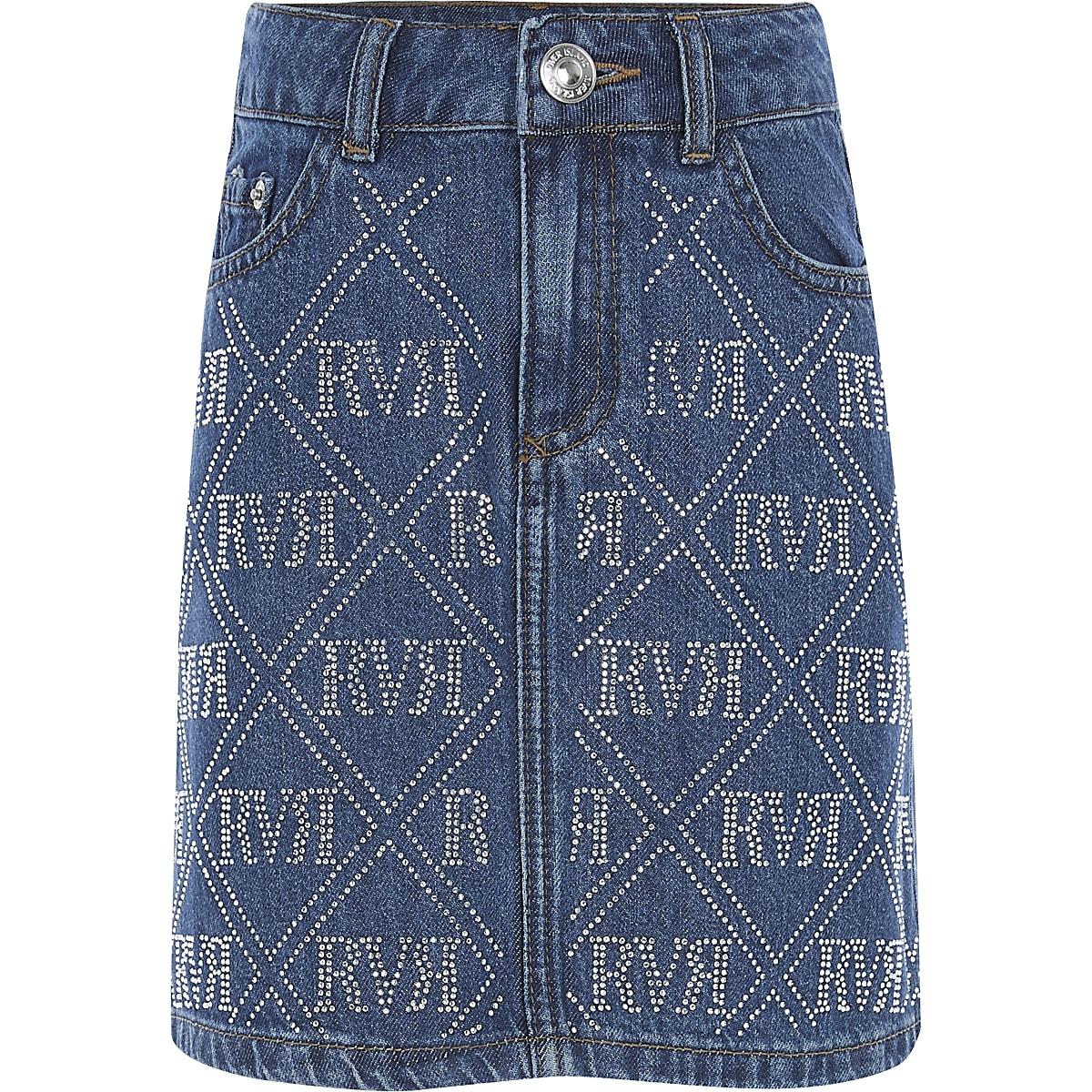 Girls blue RI diamante denim skirt