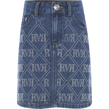 Girls blue RI diamante denim skirt