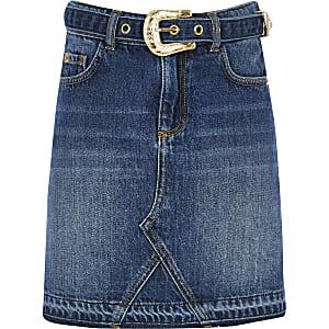 Blauer Western-Jeansrock mit Gürtel für Mädchen