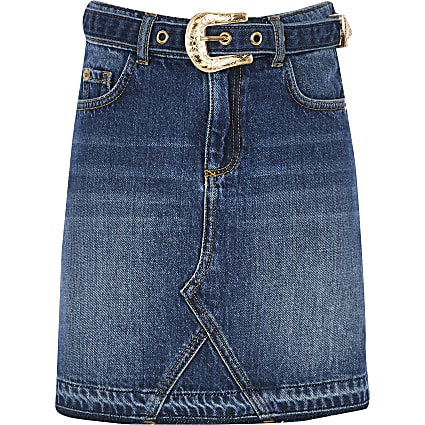 Girls blue western belted denim skirt
