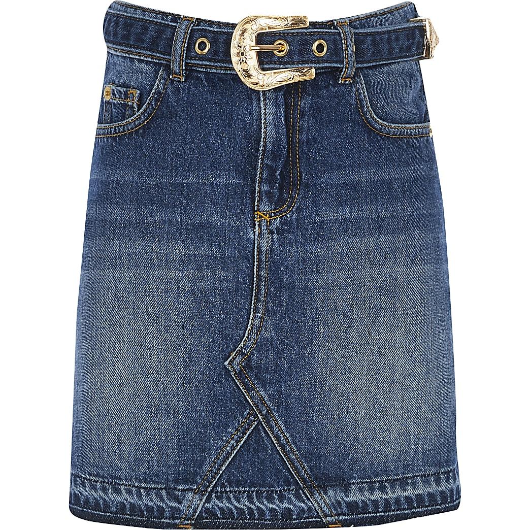 Girls blue western belted denim skirt