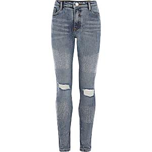 """Blaue Skinny Jeans """"Amelie"""" mit Strass für Mädchen"""