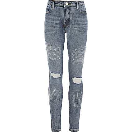 Girls blue diamante Amelie skinny jeans