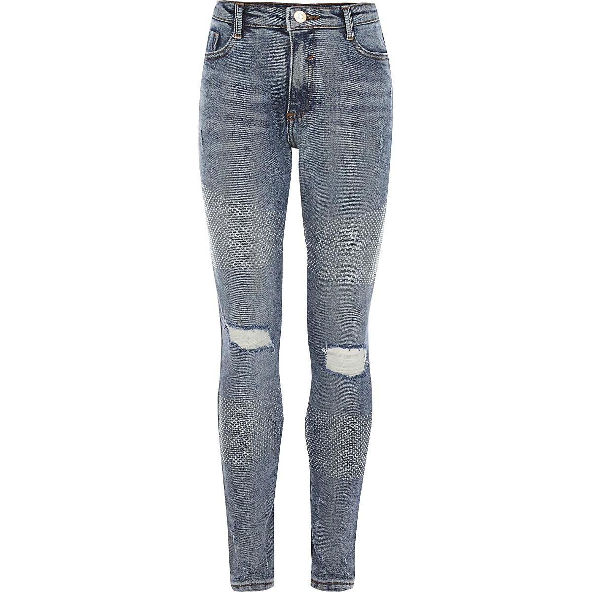 Girls blue diamante Amelie skinny jeans