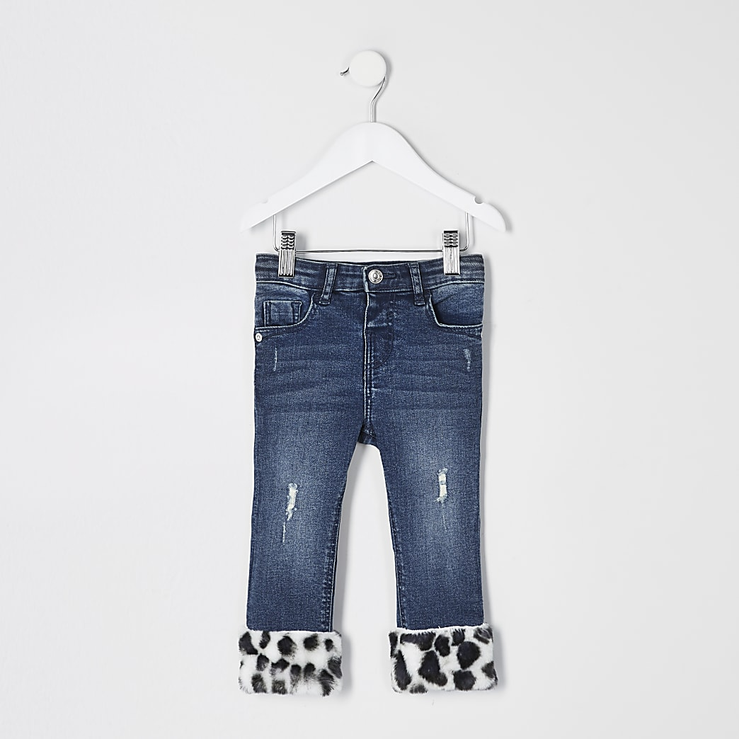 Mini - Blauwejeans met rand van imitatiebont voor meisjes