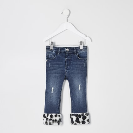 Mini girls blue faux fur hem jeans