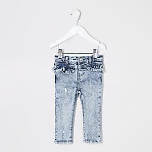 Mini - Molly - Blauwe acid wash jeans met ruches voor meisjes