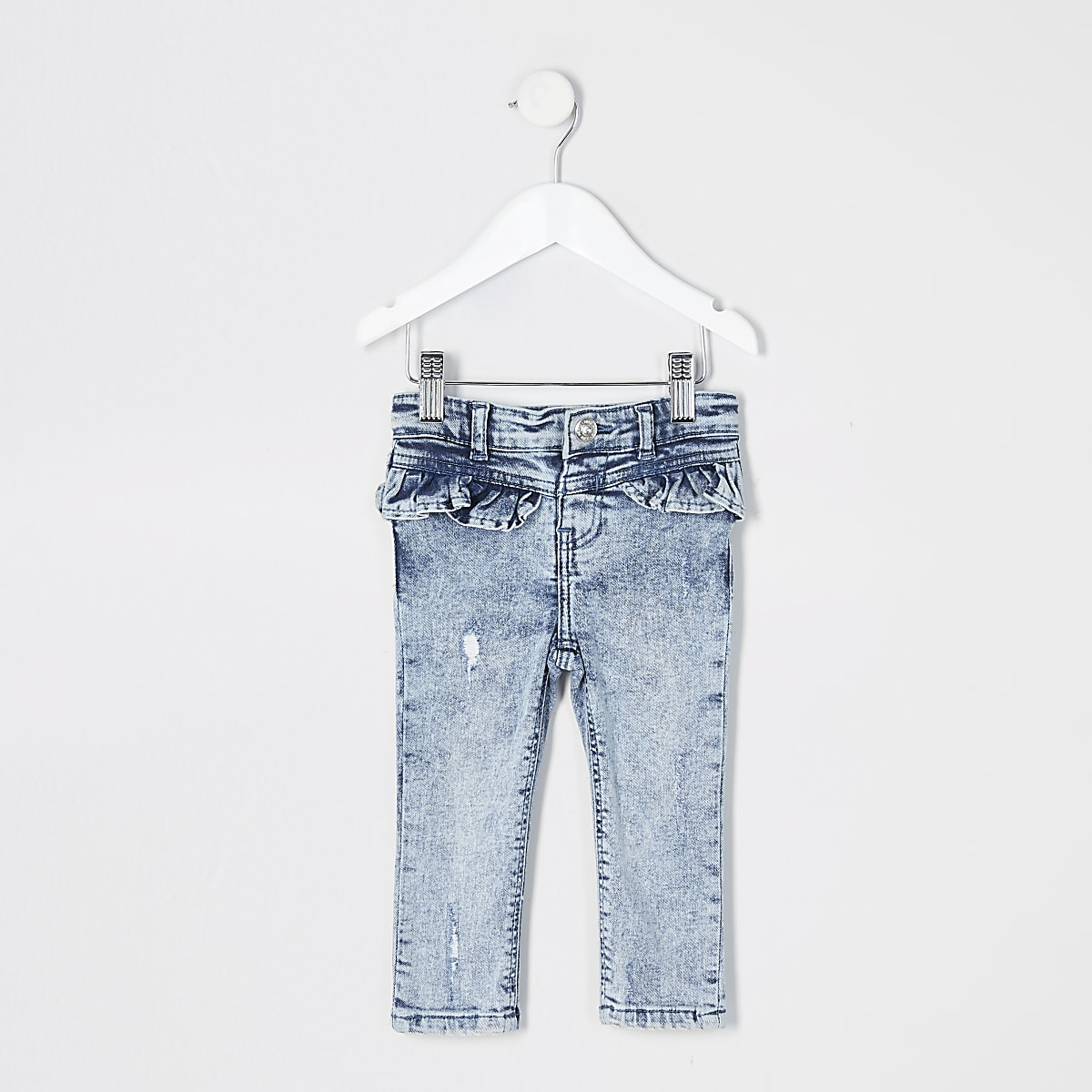 Mini girls blue acid wash Molly frill jeans