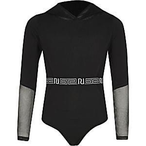 RI Active - Zwarte body van mesh met capuchon voor meisjes