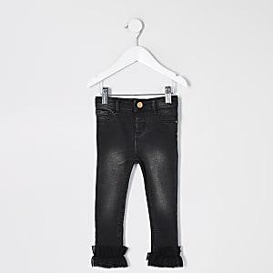 Schwarze Molly-Jeans mit Rüschensaum für kleine Mädchen