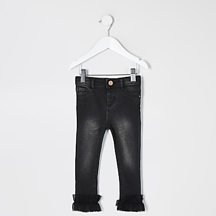 Mini girls black Molly frill hem jeans