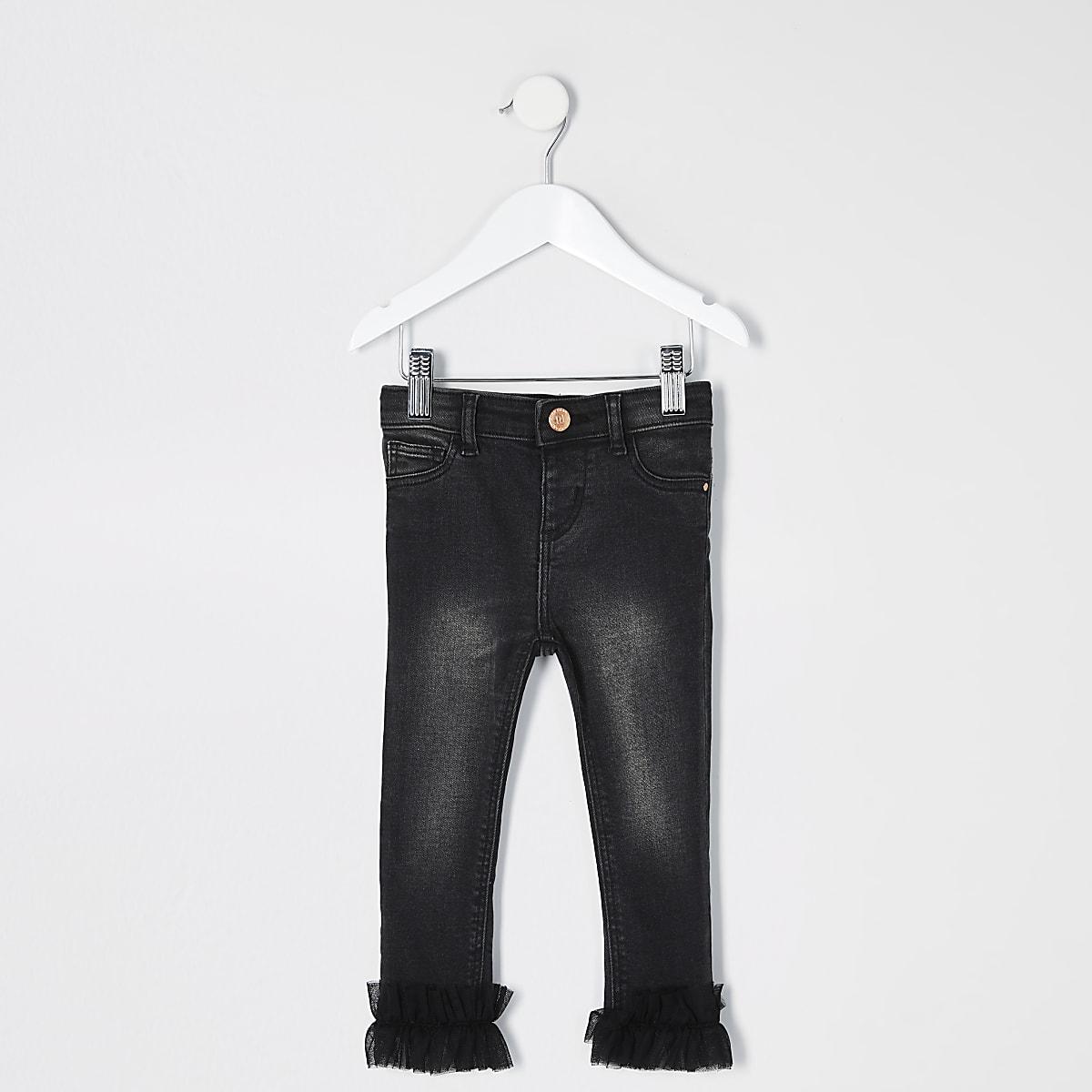 Mini girls black Molly frill hem jeans