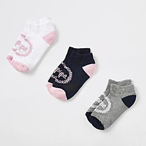 Girls pink Hype crest print socks 3 pack