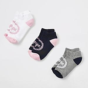 Hype – Lot de 3 paires de chaussettes à imprimé écusson roses pour fille