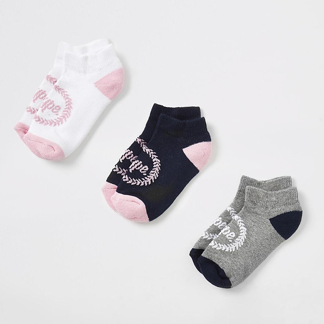 Girls pink Hype crest print socks 3 pack