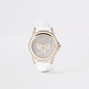 Weiße, strassverzierte Armbanduhr