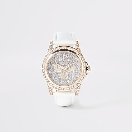 Girls white diamante embellished watch