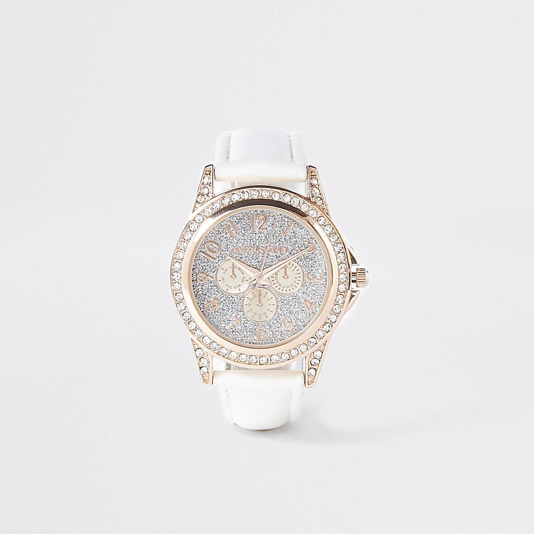 Girls white diamante embellished watch