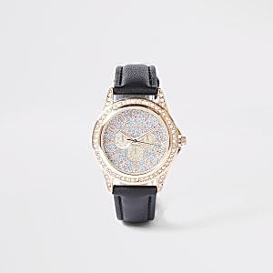 Zwart versierd horloge met stras voor meisjes