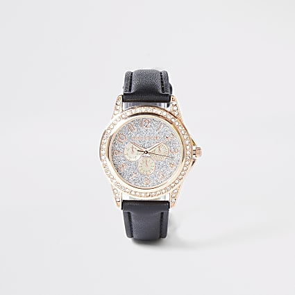 Girls black diamante embellished watch atch