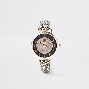 Braune Armbanduhr mit Leoparden-Print