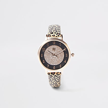 Girls brown leopard print watch
