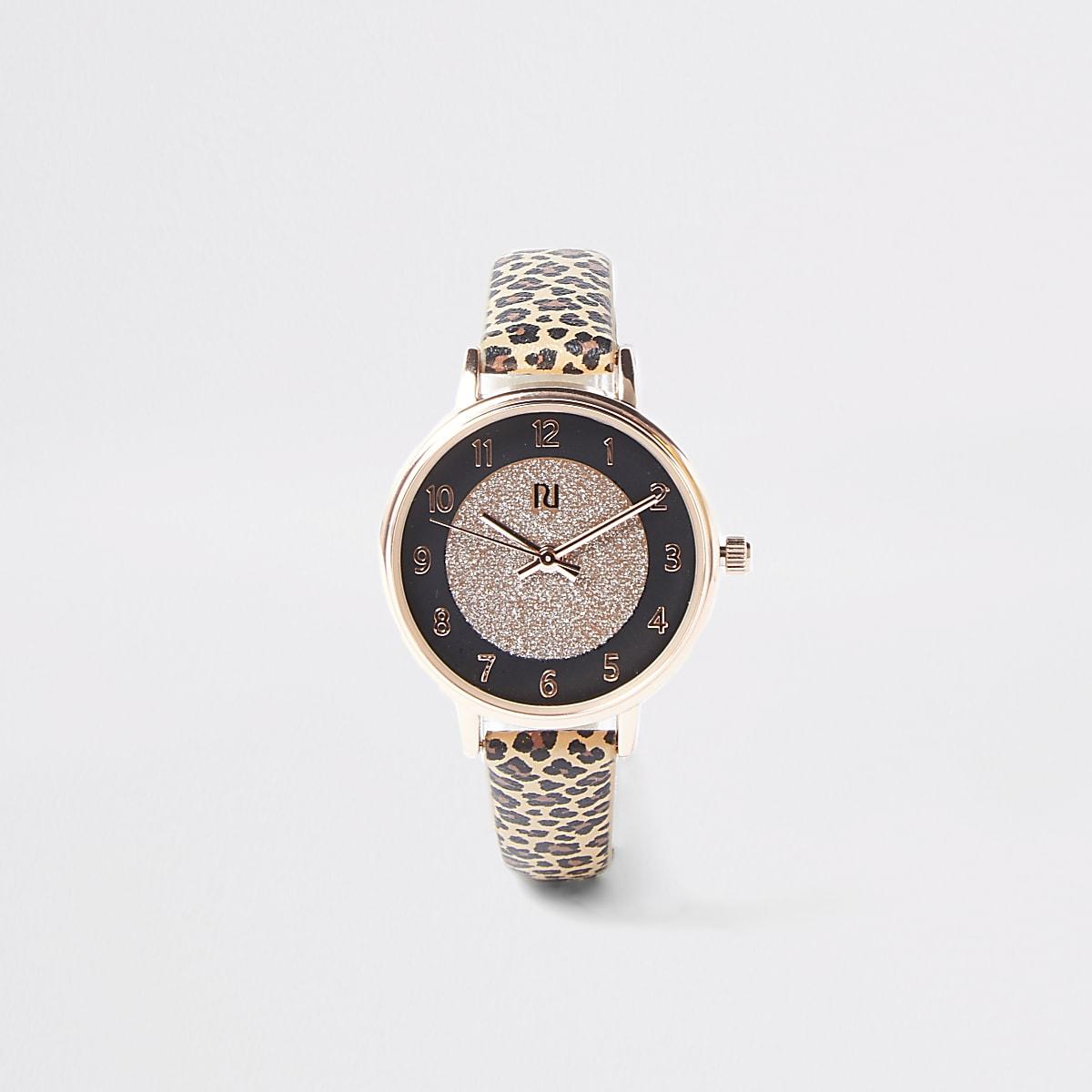 Bruin horloge met luipaardprint voor meisjes