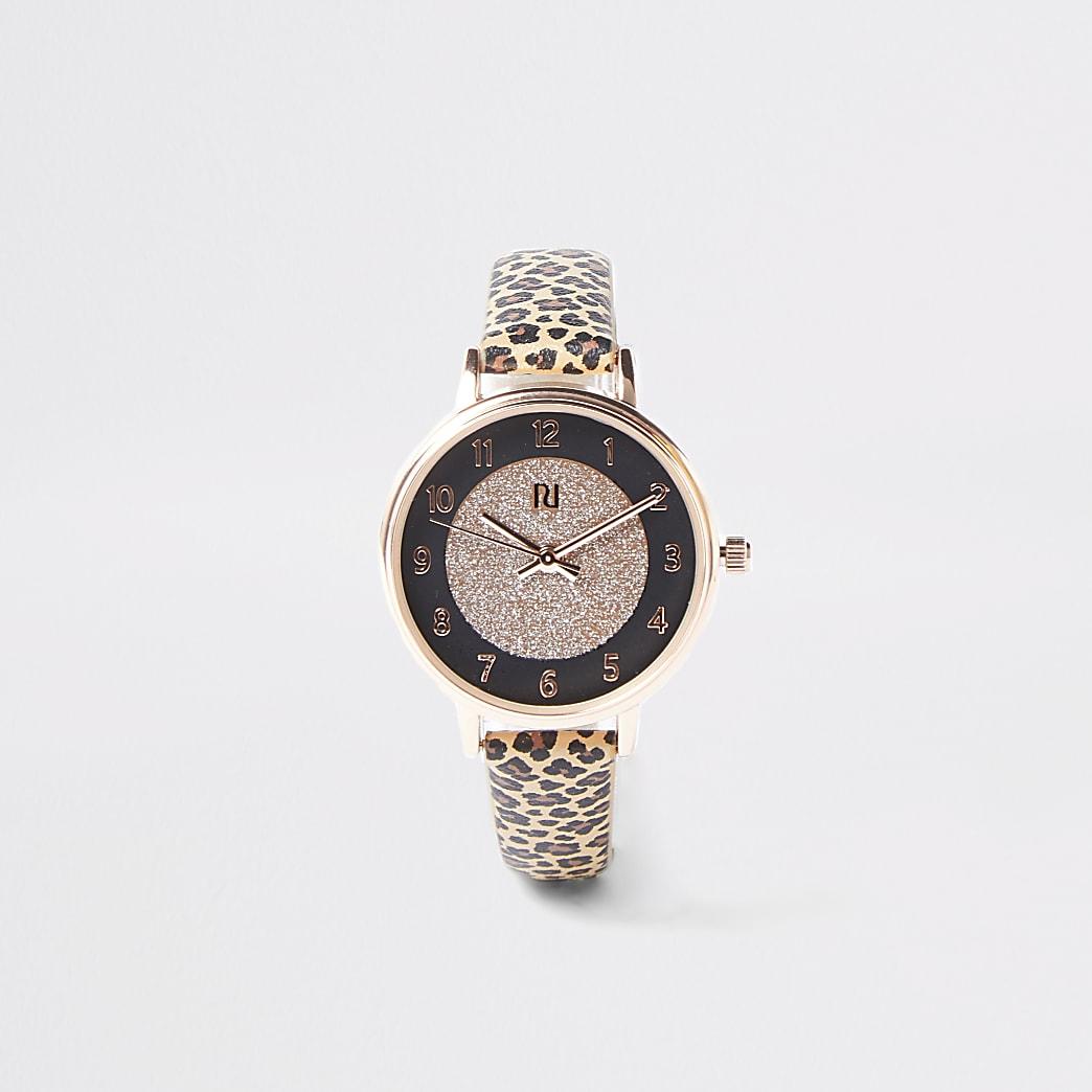 Girls brown leopard print watch