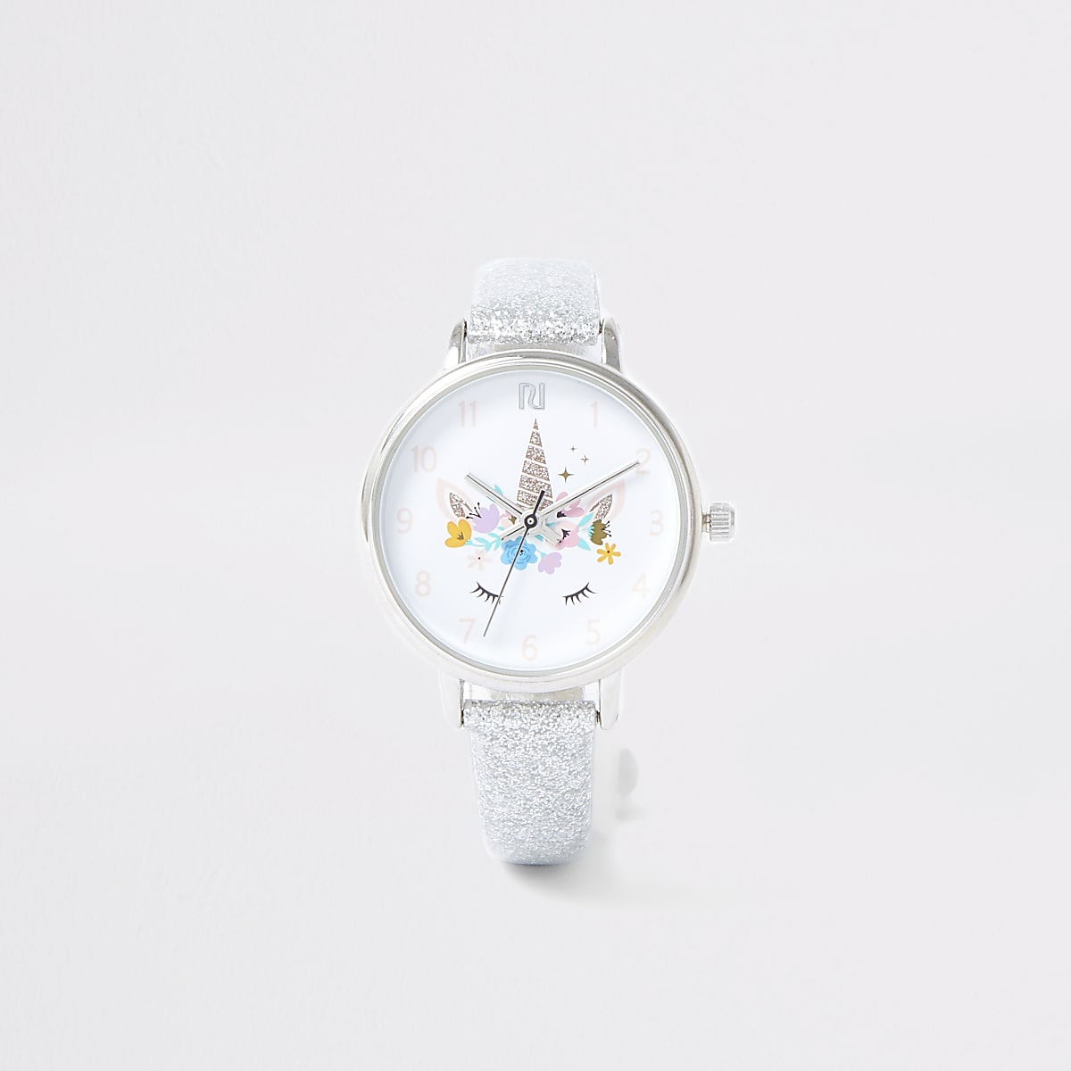 Girls silver colour unicorn watch