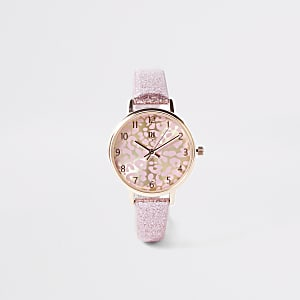Girls pink leopard print face glitter watch