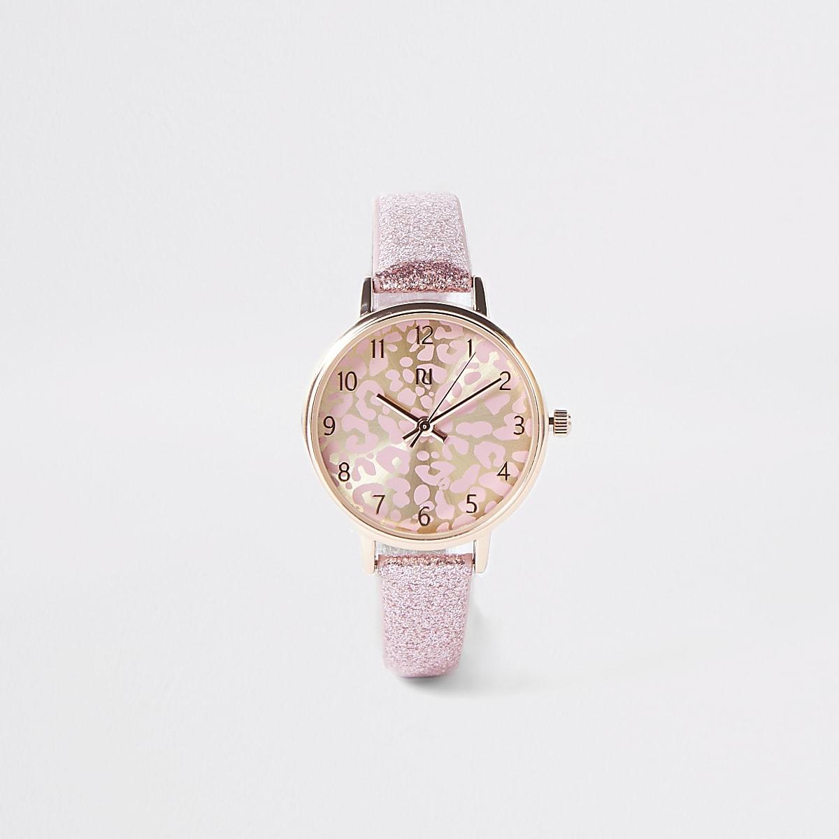 Roze horloge met wijzerplaat met luipaardprint en glitters voor meisjes