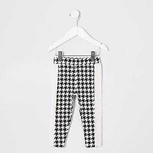 Mini - Witte legging met pied-de-poule-motief voor meisjes