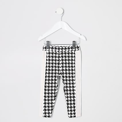 Mini girls white dogtooth check leggings