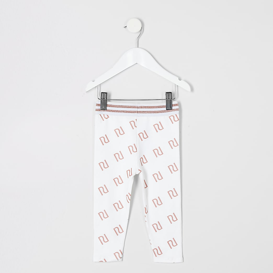 Mini girls white RI print leggings