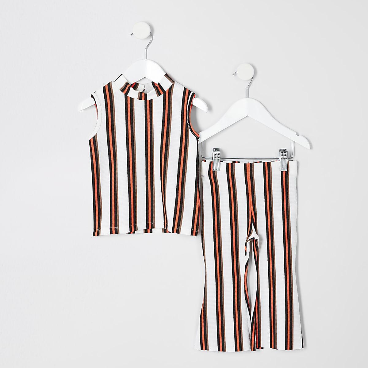 Mini girls white stripe flared pant outfit